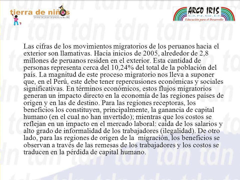 Las cifras de los movimientos migratorios de los peruanos hacia el exterior son llamativas. Hacia inicios de 2005, alrededor de 2,8 millones de peruan