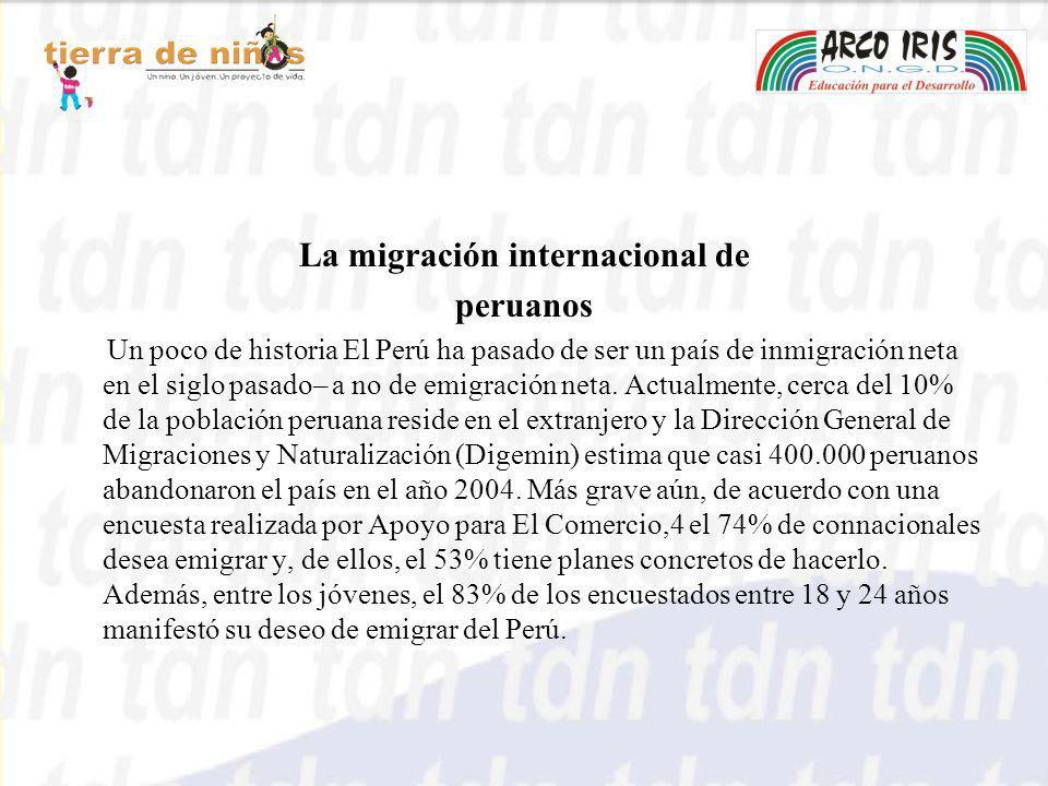 La migración internacional de peruanos Un poco de historia El Perú ha pasado de ser un país de inmigración neta en el siglo pasado– a no de emigración