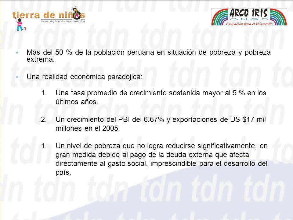 Más del 50 % de la población peruana en situación de pobreza y pobreza extrema. Más del 50 % de la población peruana en situación de pobreza y pobreza