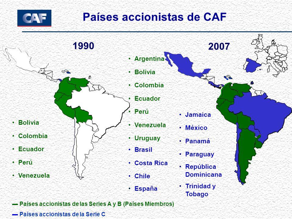 2007 1990 Países accionistas de CAF Países accionistas de las Series A y B (Países Miembros) Países accionistas de la Serie C Bolivia Colombia Ecuador