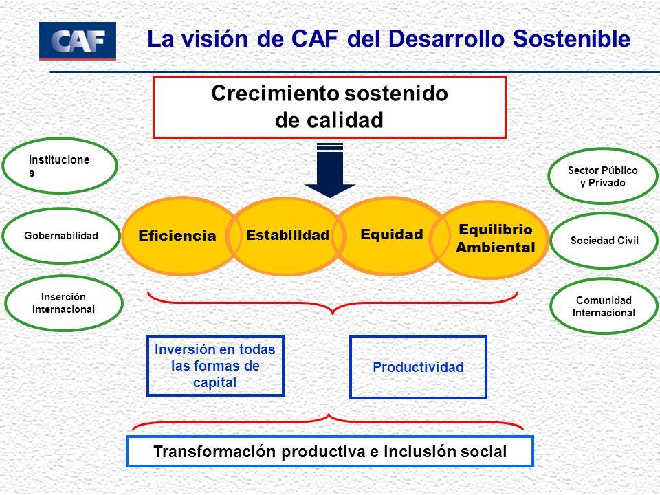 Equidad Eficiencia Crecimiento sostenido de calidad Estabilidad Institucione s Gobernabilidad Inversión en todas las formas de capital Transformación