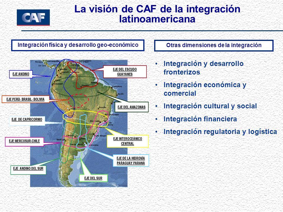 La visión de CAF de la integración latinoamericana Integración y desarrollo fronterizos Integración económica y comercial Integración cultural y socia