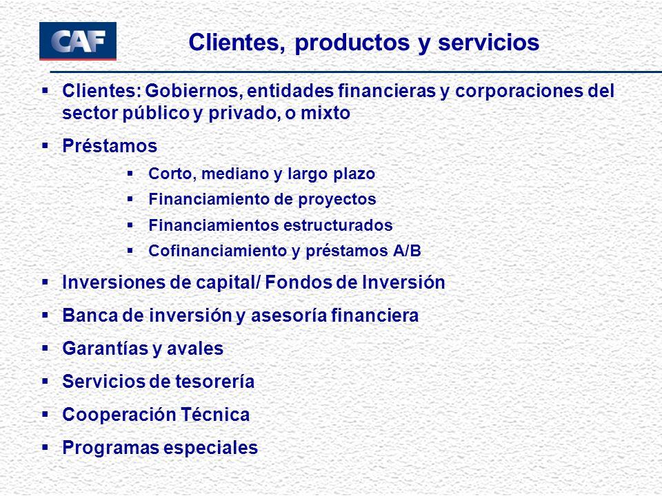 Clientes: Gobiernos, entidades financieras y corporaciones del sector público y privado, o mixto Préstamos Corto, mediano y largo plazo Financiamiento