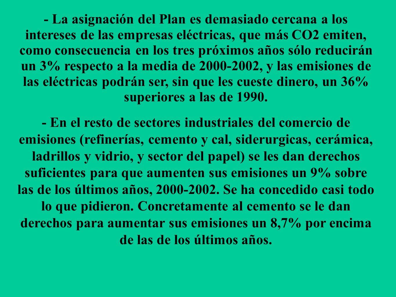 - La asignación del Plan es demasiado cercana a los intereses de las empresas eléctricas, que más CO2 emiten, como consecuencia en los tres próximos a