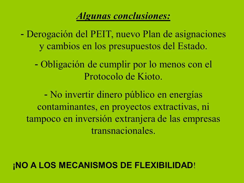 ¡NO A LOS MECANISMOS DE FLEXIBILIDAD ! Algunas conclusiones: - Derogación del PEIT, nuevo Plan de asignaciones y cambios en los presupuestos del Estad