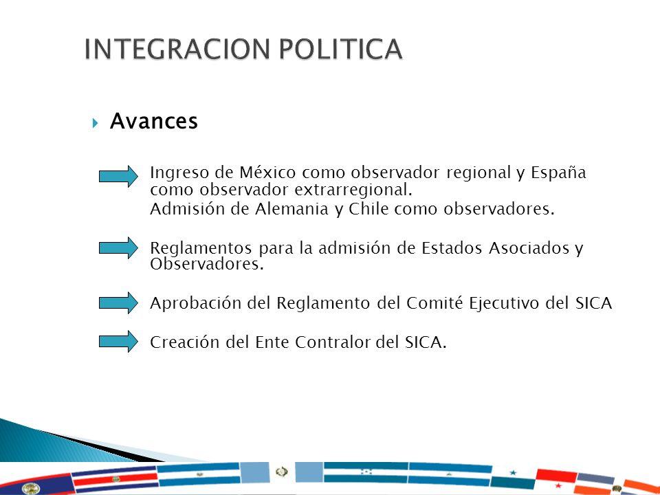 12 Avances Ingreso de México como observador regional y España como observador extrarregional. Admisión de Alemania y Chile como observadores. Reglame