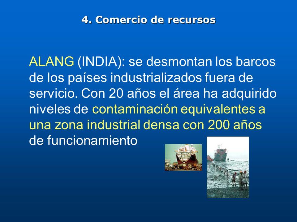 4. Comercio de recursos ALANG (INDIA): se desmontan los barcos de los países industrializados fuera de servicio. Con 20 años el área ha adquirido nive