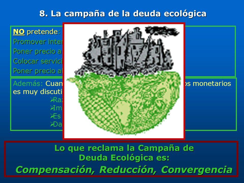 Lo que reclama la Campaña de Deuda Ecológica es: Compensación, Reducción, Convergencia NO pretende: Promover intercambios de deuda por naturaleza Pone