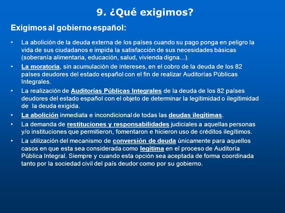 9. ¿Qué exigimos? Exigimos al gobierno español: La abolición de la deuda externa de los países cuando su pago ponga en peligro la vida de sus ciudadan