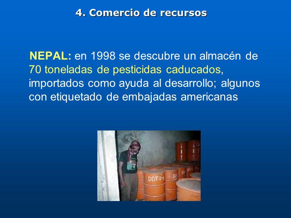 NEPAL: en 1998 se descubre un almacén de 70 toneladas de pesticidas caducados, importados como ayuda al desarrollo; algunos con etiquetado de embajada