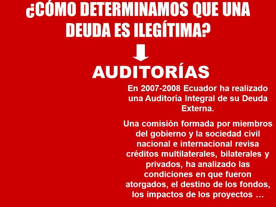 ¿CÓMO DETERMINAMOS QUE UNA DEUDA ES ILEGÍTIMA? En 2007-2008 Ecuador ha realizado una Auditoría Integral de su Deuda Externa. Una comisión formada por