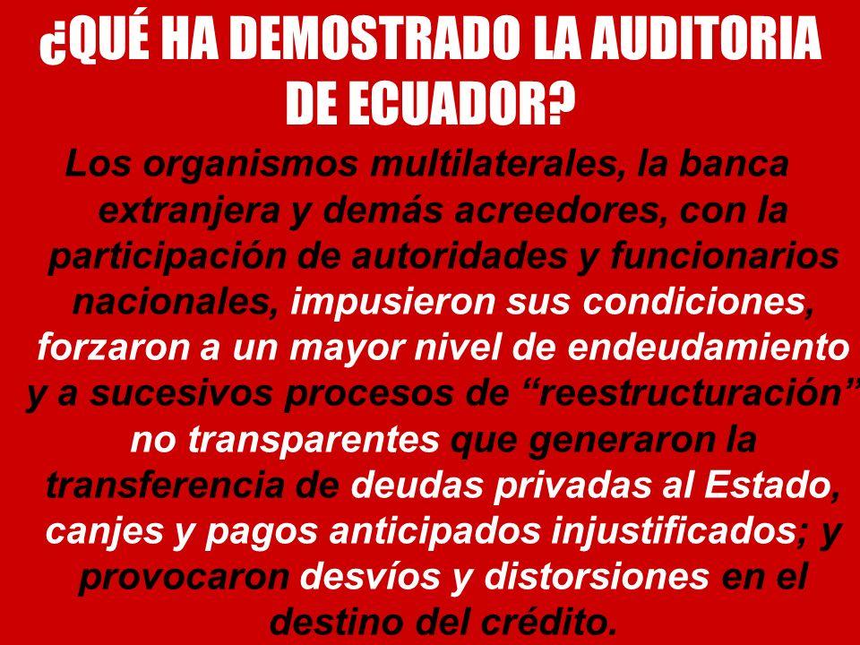 ¿QUÉ HA DEMOSTRADO LA AUDITORIA DE ECUADOR? Los organismos multilaterales, la banca extranjera y demás acreedores, con la participación de autoridades