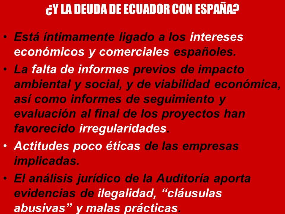 ¿Y LA DEUDA DE ECUADOR CON ESPAÑA? Está íntimamente ligado a los intereses económicos y comerciales españoles. La falta de informes previos de impacto