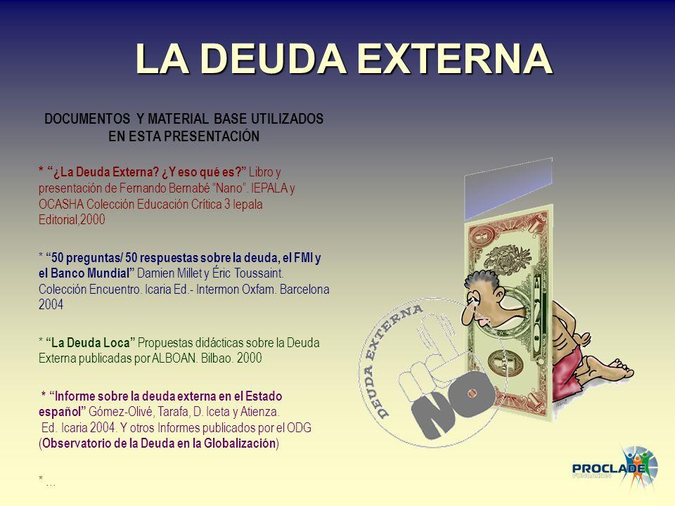 LA DEUDA EXTERNA DOCUMENTOS Y MATERIAL BASE UTILIZADOS EN ESTA PRESENTACIÓN * ¿La Deuda Externa? ¿Y eso qué es? Libro y presentación de Fernando Berna