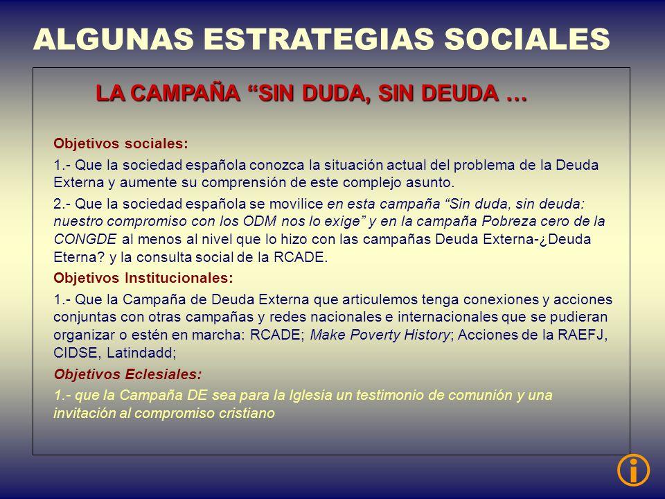 ALGUNAS ESTRATEGIAS SOCIALES LA CAMPAÑA SIN DUDA, SIN DEUDA … Objetivos sociales: 1.- Que la sociedad española conozca la situación actual del problem