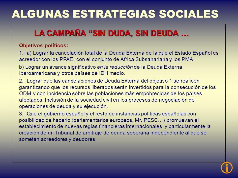 ALGUNAS ESTRATEGIAS SOCIALES LA CAMPAÑA SIN DUDA, SIN DEUDA … Objetivos políticos: 1.- a) Lograr la cancelación total de la Deuda Externa de la que el