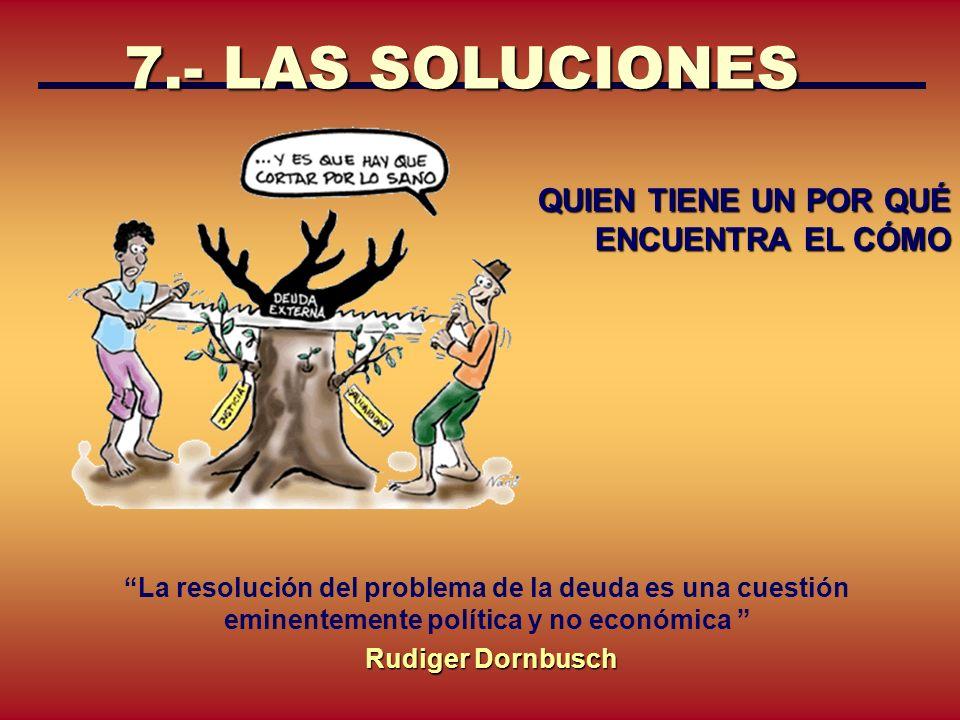 7.- LAS SOLUCIONES QUIEN TIENE UN POR QUÉ ENCUENTRA EL CÓMO La resolución del problema de la deuda es una cuestión eminentemente política y no económi