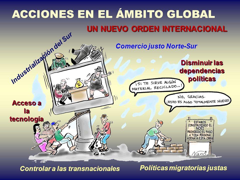Comercio justo Norte-Sur Industrialización del Sur Disminuir las dependencias políticas Acceso a la tecnología Políticas migratorias justas Controlar