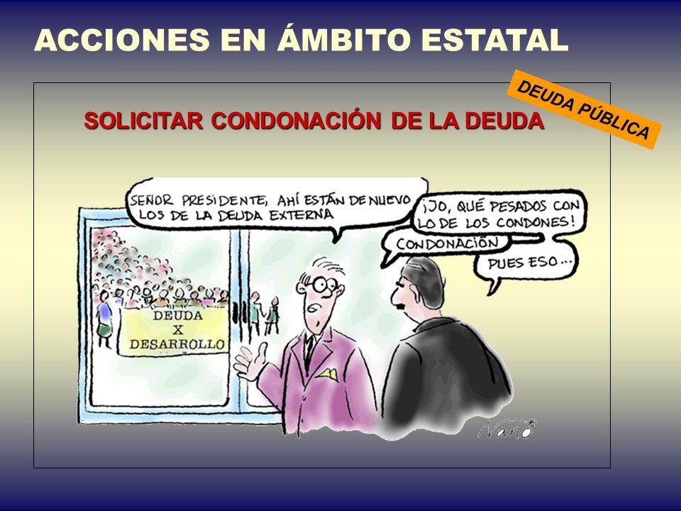 ACCIONES EN ÁMBITO ESTATAL SOLICITAR CONDONACIÓN DE LA DEUDA DEUDA PÚBLICA