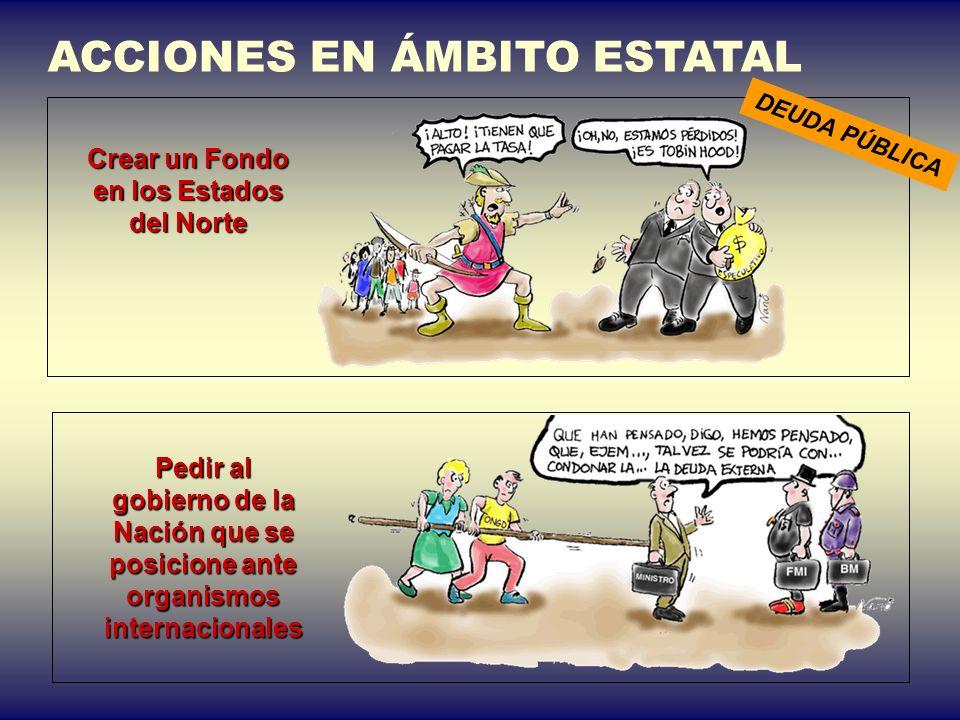 ACCIONES EN ÁMBITO ESTATAL Crear un Fondo en los Estados del Norte DEUDA PÚBLICA Pedir al gobierno de la Nación que se posicione ante organismos inter