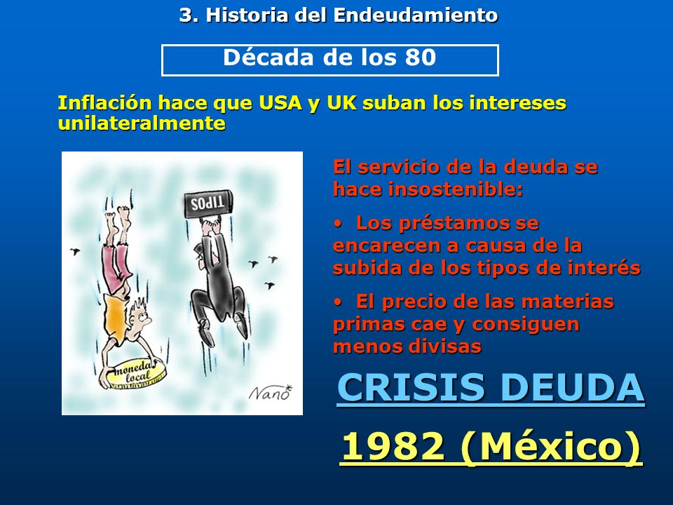 3. Historia del Endeudamiento Inflación hace que USA y UK suban los intereses unilateralmente CRISIS DEUDA 1982 (México) Década de los 80 El servicio