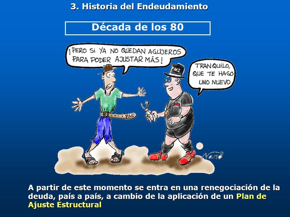 3. Historia del Endeudamiento A partir de este momento se entra en una renegociación de la deuda, país a país, a cambio de la aplicación de un Plan de