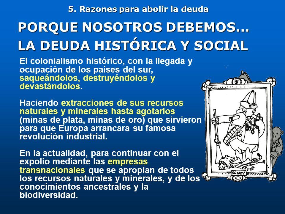 5. Razones para abolir la deuda PORQUE NOSOTROS DEBEMOS... LA DEUDA HISTÓRICA Y SOCIAL El colonialismo histórico, con la llegada y ocupación de los pa