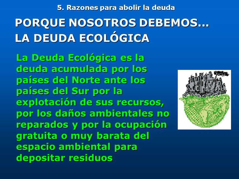 5. Razones para abolir la deuda PORQUE NOSOTROS DEBEMOS... LA DEUDA ECOLÓGICA La Deuda Ecológica es la deuda acumulada por los países del Norte ante l