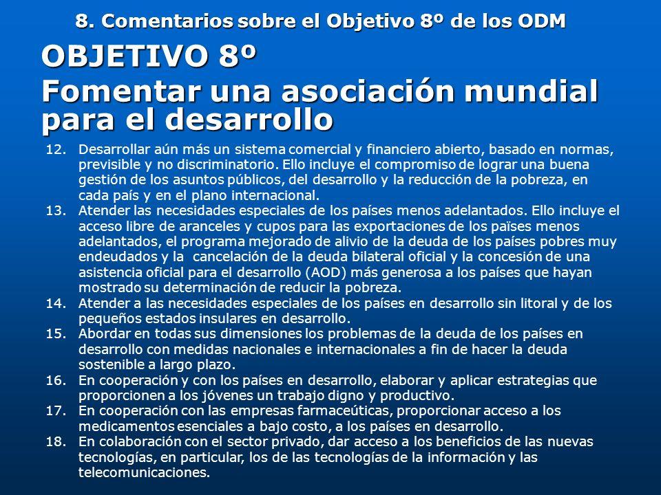 8. Comentarios sobre el Objetivo 8º de los ODM OBJETIVO 8º Fomentar una asociación mundial para el desarrollo 12.Desarrollar aún más un sistema comerc