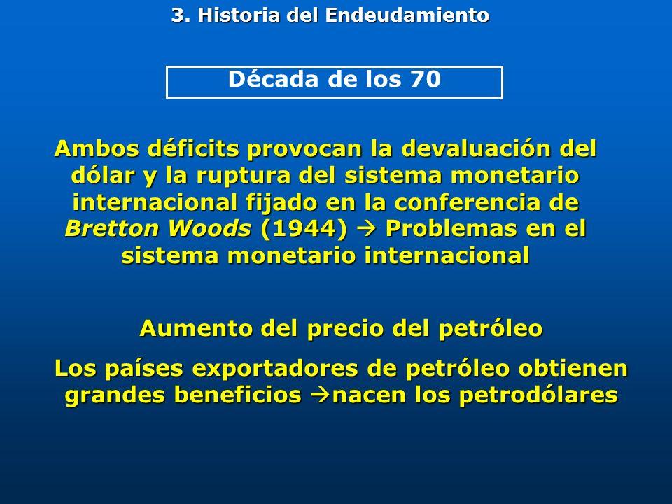 Ambos déficits provocan la devaluación del dólar y la ruptura del sistema monetario internacional fijado en la conferencia de Bretton Woods (1944) Pro