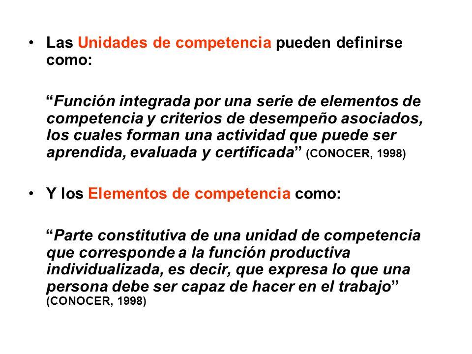 Las Unidades de competencia pueden definirse como: Función integrada por una serie de elementos de competencia y criterios de desempeño asociados, los cuales forman una actividad que puede ser aprendida, evaluada y certificada (CONOCER, 1998) Y los Elementos de competencia como: Parte constitutiva de una unidad de competencia que corresponde a la función productiva individualizada, es decir, que expresa lo que una persona debe ser capaz de hacer en el trabajo (CONOCER, 1998)