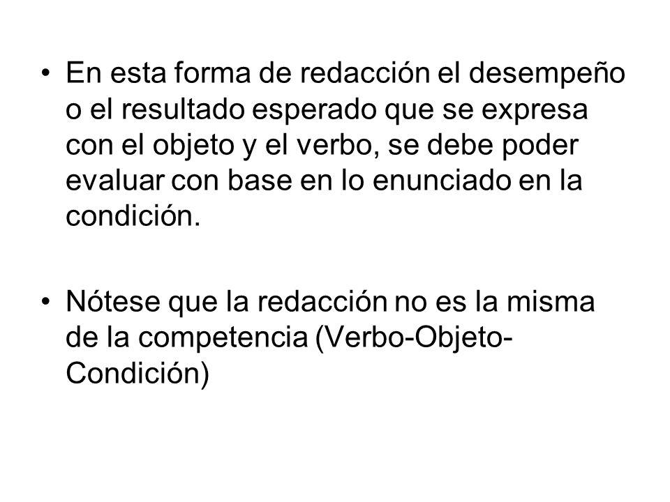 En esta forma de redacción el desempeño o el resultado esperado que se expresa con el objeto y el verbo, se debe poder evaluar con base en lo enunciado en la condición.