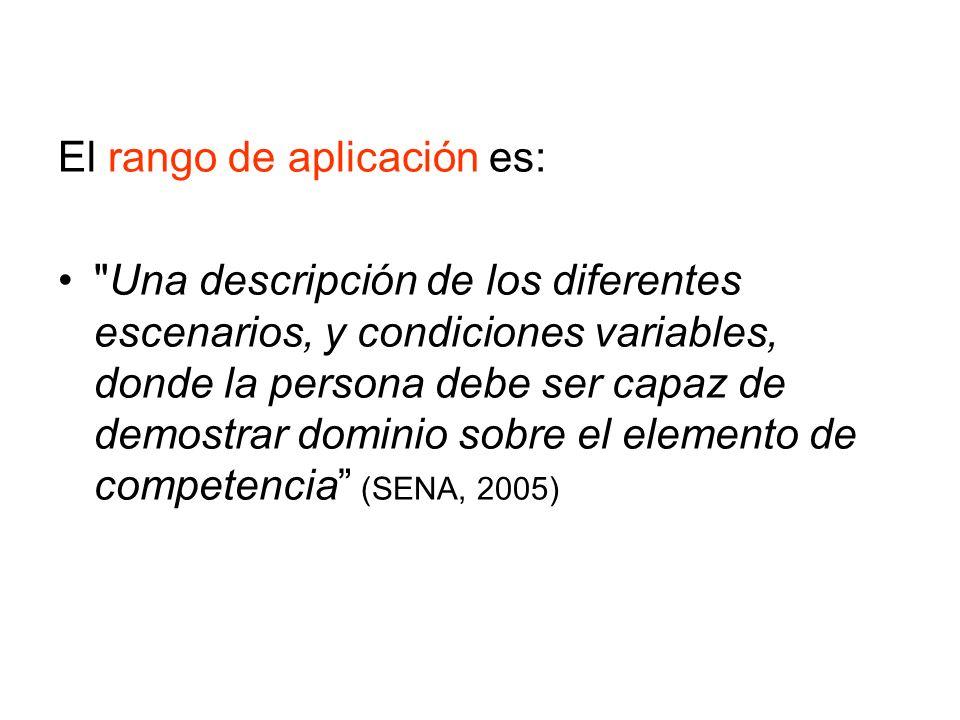 El rango de aplicación es: Una descripción de los diferentes escenarios, y condiciones variables, donde la persona debe ser capaz de demostrar dominio sobre el elemento de competencia (SENA, 2005)