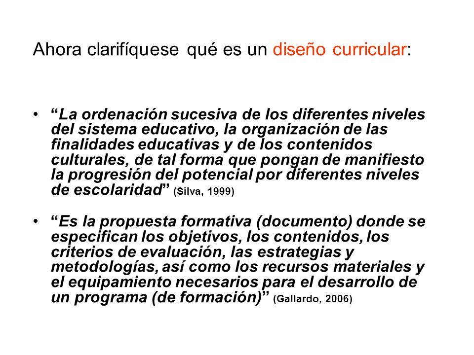 Ahora clarifíquese qué es un diseño curricular: La ordenación sucesiva de los diferentes niveles del sistema educativo, la organización de las finalid
