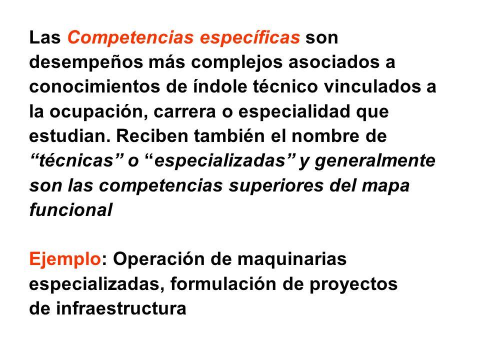 Las Competencias específicas son desempeños más complejos asociados a conocimientos de índole técnico vinculados a la ocupación, carrera o especialida