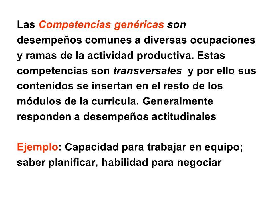 Las Competencias genéricas son desempeños comunes a diversas ocupaciones y ramas de la actividad productiva. Estas competencias son transversales y po