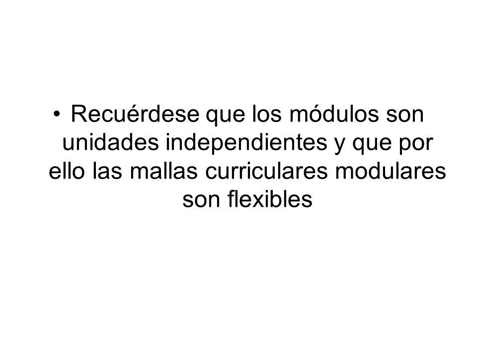 Recuérdese que los módulos son unidades independientes y que por ello las mallas curriculares modulares son flexibles