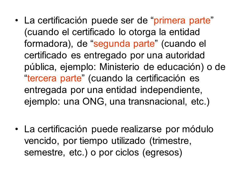 La certificación puede ser de primera parte (cuando el certificado lo otorga la entidad formadora), de segunda parte (cuando el certificado es entrega