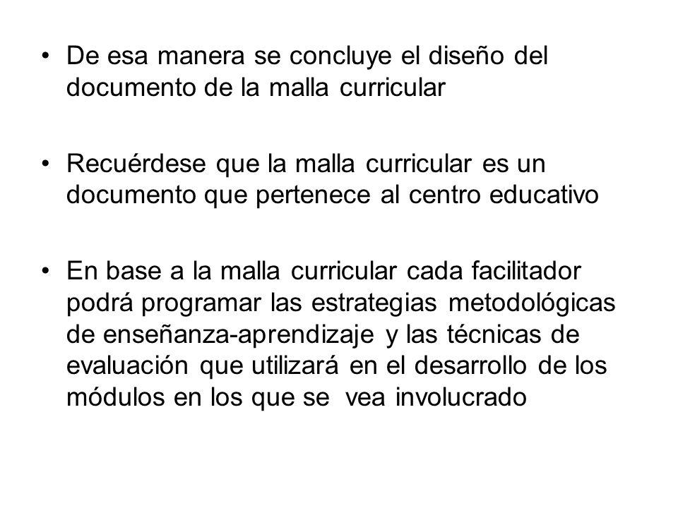 De esa manera se concluye el diseño del documento de la malla curricular Recuérdese que la malla curricular es un documento que pertenece al centro ed