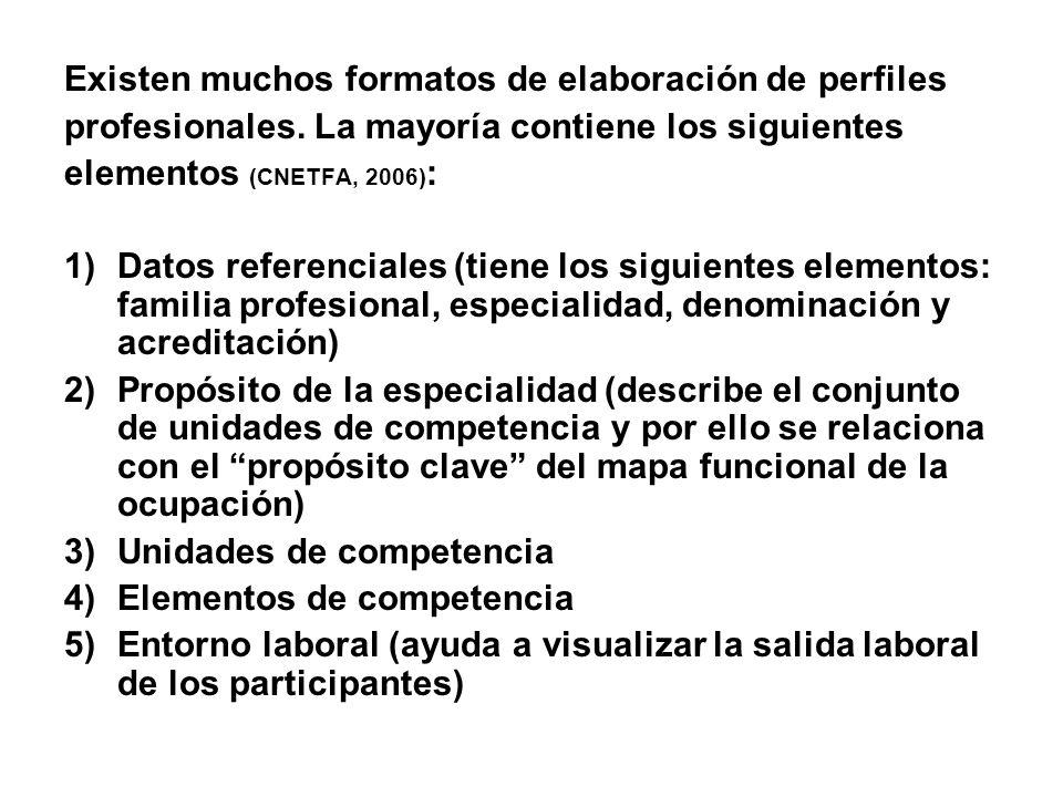 Existen muchos formatos de elaboración de perfiles profesionales. La mayoría contiene los siguientes elementos (CNETFA, 2006) : 1)Datos referenciales