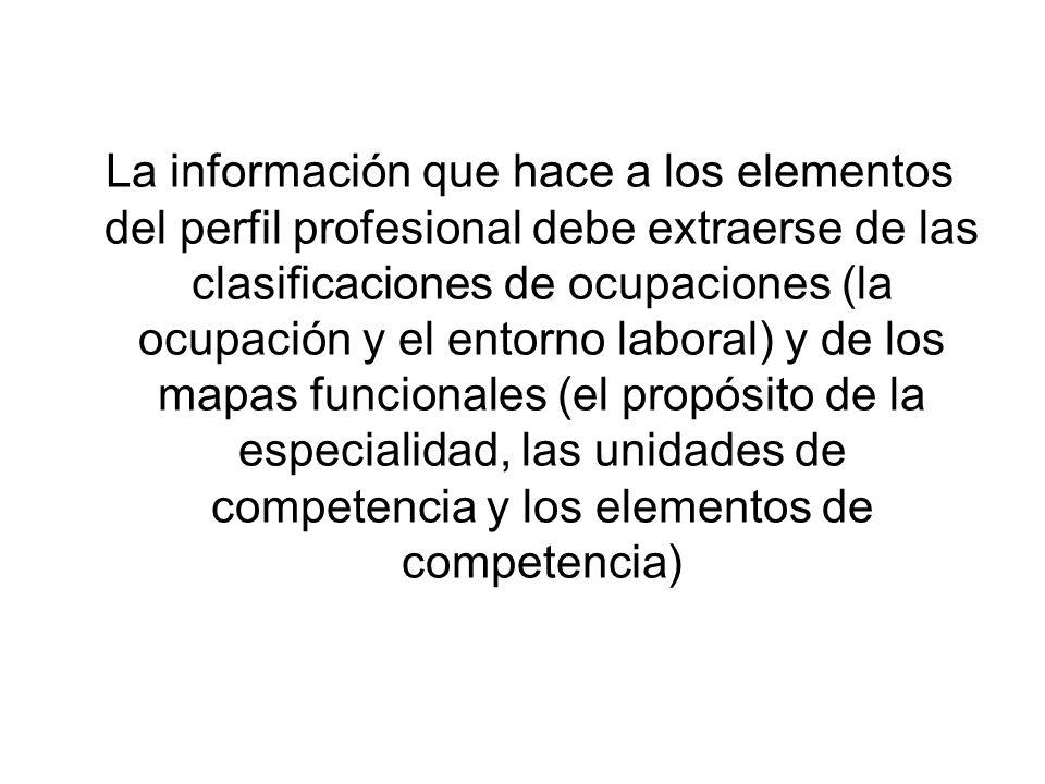 La información que hace a los elementos del perfil profesional debe extraerse de las clasificaciones de ocupaciones (la ocupación y el entorno laboral
