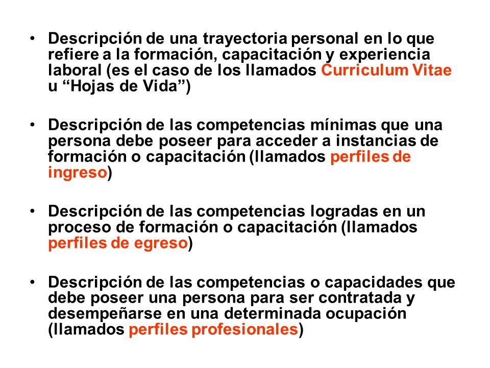 Descripción de una trayectoria personal en lo que refiere a la formación, capacitación y experiencia laboral (es el caso de los llamados Curriculum Vi