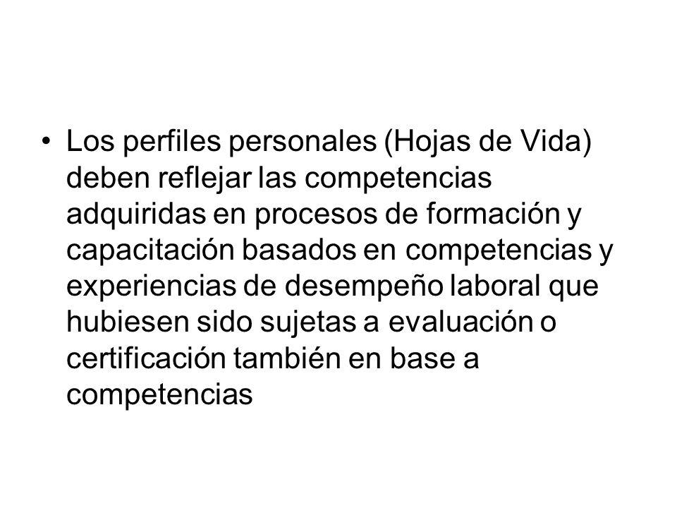 Los perfiles personales (Hojas de Vida) deben reflejar las competencias adquiridas en procesos de formación y capacitación basados en competencias y e