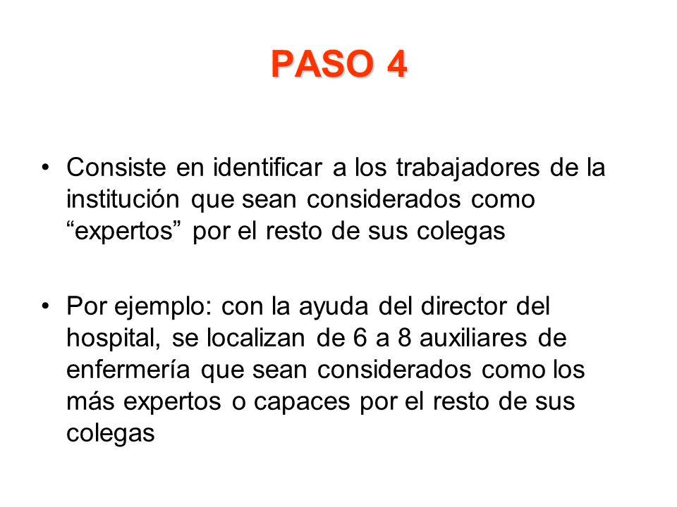 PASO 4 Consiste en identificar a los trabajadores de la institución que sean considerados como expertos por el resto de sus colegas Por ejemplo: con l