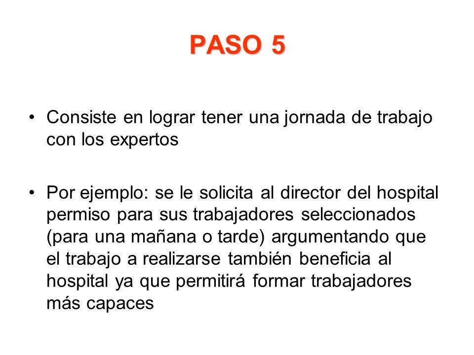 PASO 5 Consiste en lograr tener una jornada de trabajo con los expertos Por ejemplo: se le solicita al director del hospital permiso para sus trabajad