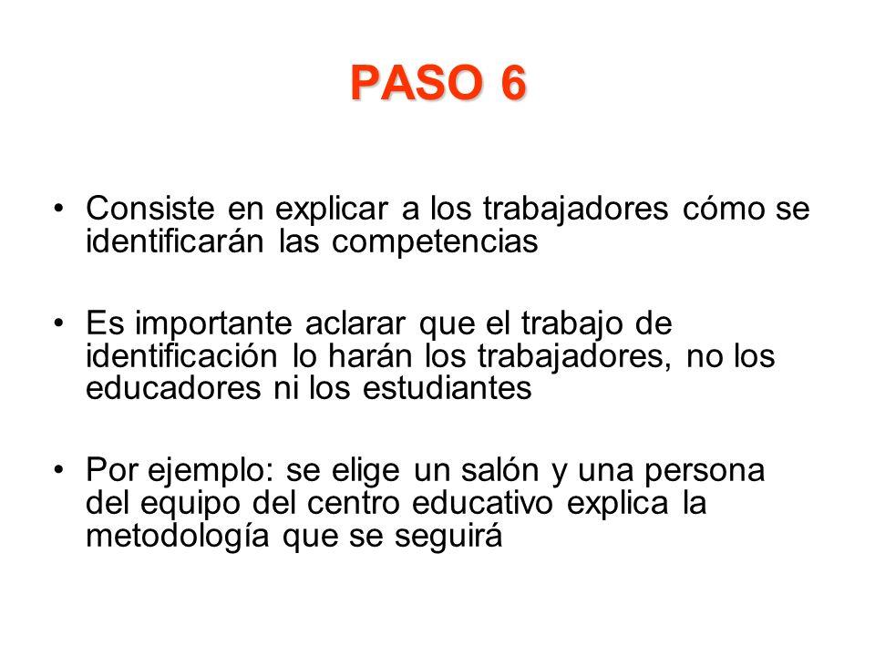 PASO 6 Consiste en explicar a los trabajadores cómo se identificarán las competencias Es importante aclarar que el trabajo de identificación lo harán