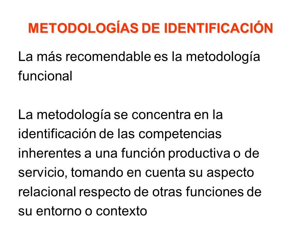 METODOLOGÍAS DE IDENTIFICACIÓN La más recomendable es la metodología funcional La metodología se concentra en la identificación de las competencias in