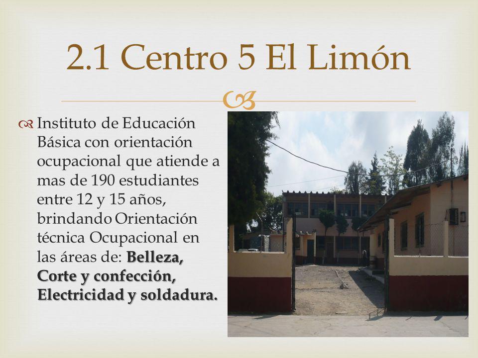 Belleza, Corte y confección, Electricidad y soldadura. Instituto de Educación Básica con orientación ocupacional que atiende a mas de 190 estudiantes