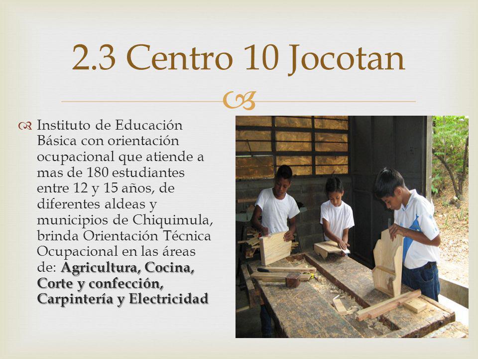 Agricultura, Cocina, Corte y confección, Carpintería y Electricidad Instituto de Educación Básica con orientación ocupacional que atiende a mas de 180