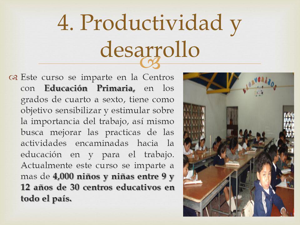 Educación Primaria, 4,000 niños y niñas entre 9 y 12 años de 30 centros educativos en todo el país. Este curso se imparte en la Centros con Educación
